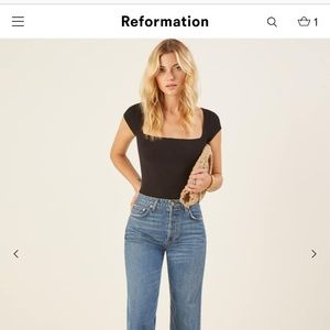 Tops - The Reformation Bardot top in rust